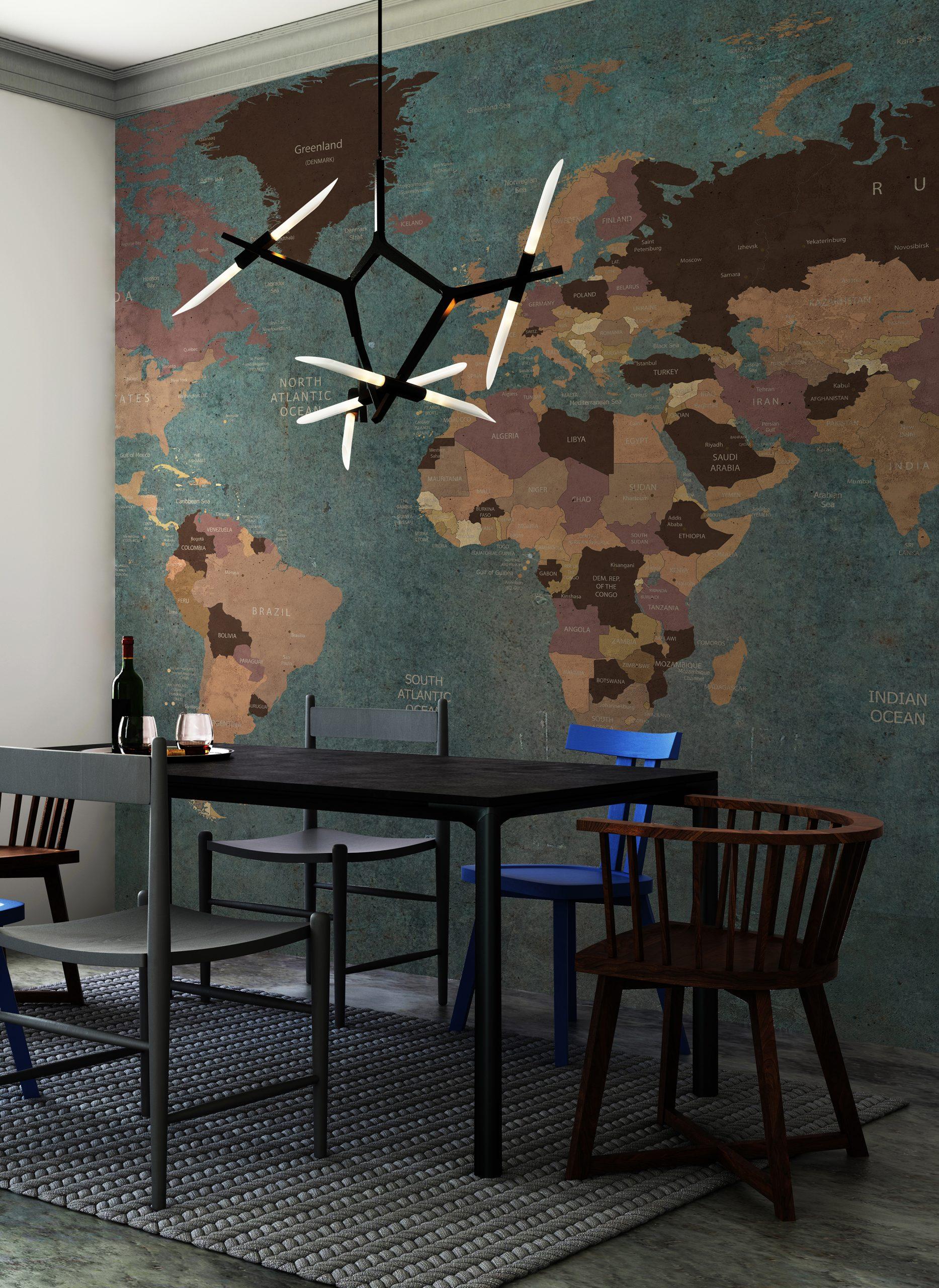 Interior hipster dining room empty wall